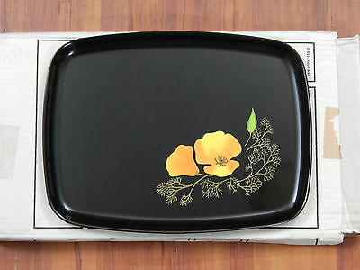 Vintage Black Lacquer Courac Tray Floral Wood Inlay Platter with Box - Exc. Cond
