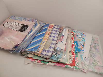 Large Vintage Gift Wrap LOT Single / Double Sheets - Birthday Anniversary Floral