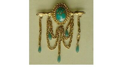 Beautiful Turquoise And Gold Chandelier Pin