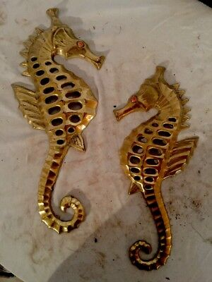 Vtg Japan Gold Tone Brass Metal Sea Horse Wall Decor Pair. Fish Nautical Funky