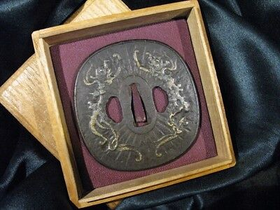17/18th C. BIG DRAGON  HIGO KATANA  TSUBA - Japanese-Samurai-Sword Kozuka Menuki