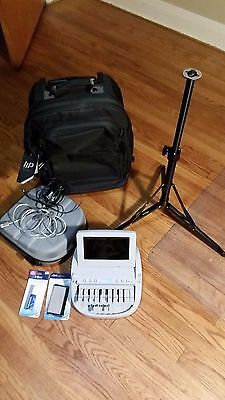 Stenograph Wave Student Steno Writer machine with case, stand, and roller bag