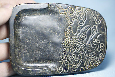 Chinese old jade hand-carved China jade and design Dragon inkstone T236