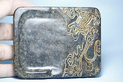 Chinese old jade hand-carved China jade and design Dragon inkstone T237