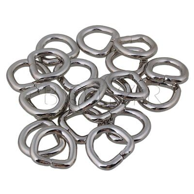 20PCS Metal Silver D Ring Buckle Loop Ring for Strap Keeper 1.3cm Hooks