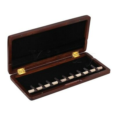 Wooden Reed Box Reed Case for 9 Reeds Hold Plug-in Handmade Open Easily Maroon