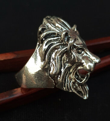 Chinese handmade carved lion ring  a7001