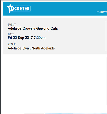 1 Ticket AFL Adelaide Crows v Geelong Cats Preliminary Final