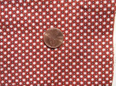 ~Back In Time Textiles~Antique 1860-70 Cennenital star red & black Fabric~