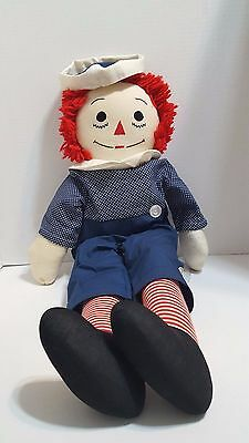 Vintage Raggedy Andy 24 inches handmade blue polka dot shirt w/ blue pants