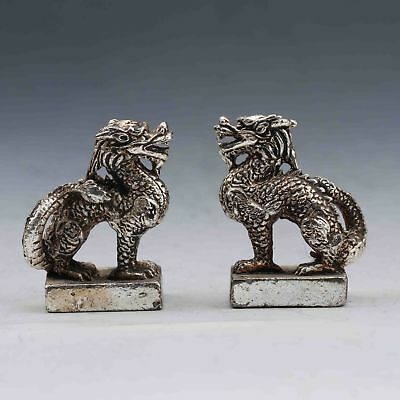 A Pair Oriental Vintage Silver Copper Handmade Carved Unicorn Seal