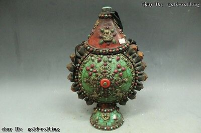 "14""Tibet Costful Bronze Silver inlay turquoise coral Gem tobacco pot Statue"