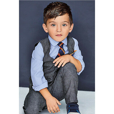 AJia Baby Boys 2-7Years Clothing Sets 4PCS Vest + Necktie + Shirt + Pant Suits