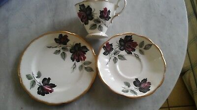 Royal Albert Trio Masquerade White With Red Roses In Good Used Condition