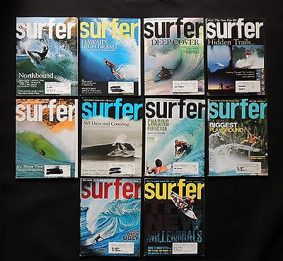 Surfer Magazine 2007 Used Lot Of 10 Issues Vol.48  Surf Surfing Hawaii