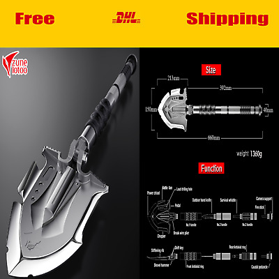 Outdoor Survival Tactical Folding Camping Shovel With Battle Axe Multitool