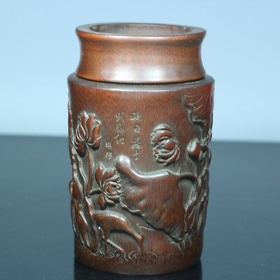 China Exquisite Hand-carved Lotus carving bamboo Tea caddy