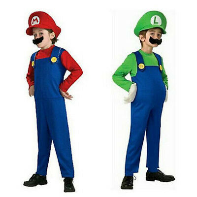 Mario and Luigi Costumes Kids Super Mario Bros/Brothers Halloween Dress NEW