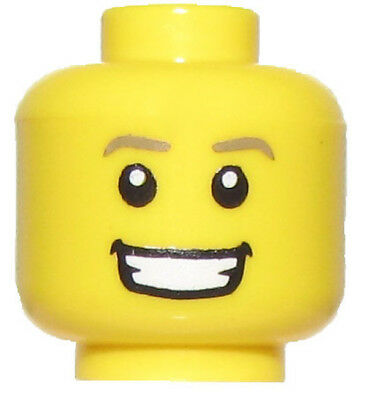 Lego New Yellow Minifigure Head With Bright White Smile Male Boy Happy Face Part