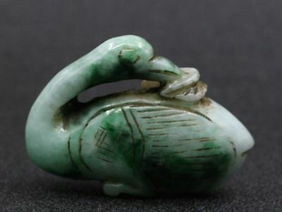 Chinese Exquisite Hand-carved swan carving jadeite jade Pendant