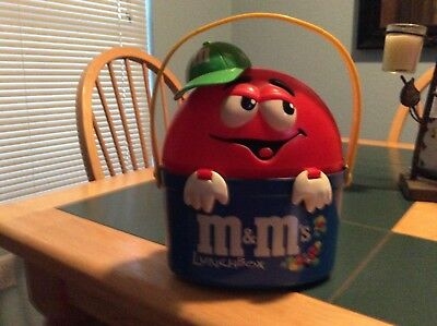 m&m plastic lunchbox red wearing a baseball cap w/ yellow handle really cute