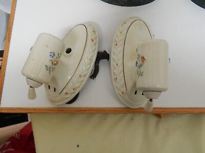Matching Pair Of Vintage Flower Ceramic /porcelain Wall Sconces Light Fixtures