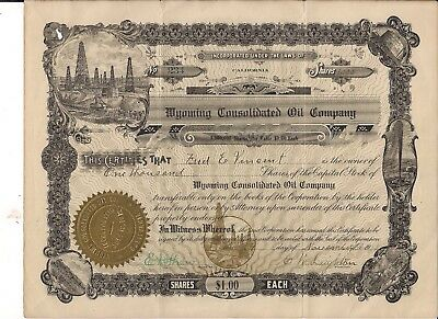 Wyoming Consolidated Oil Co. Stock Certificate 1913 1000 shares