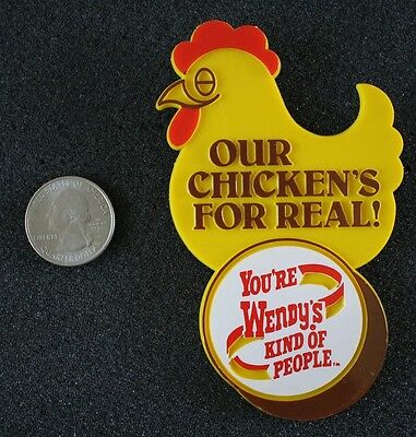 Our Chicken's For Real Wendy's Fast Food Restaurant Plastic Pin Pinback Button