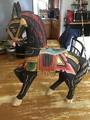 """Vintage 17"""" Tall Handcrafted Wooden Horse"""