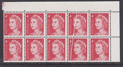 AD3) Australia 1966 4c Red QEII. Mint unhinged top right block of 10