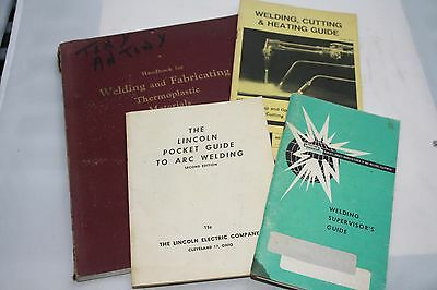4 vintage welding guides Lincoln, Victor arc welding fabricating