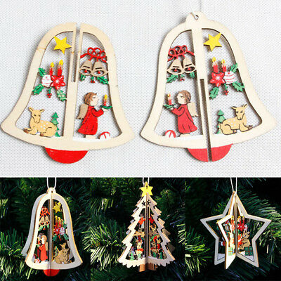 New Christmas Decoration 3D Wooden Xmas Tree Pendants Hanging Home Party Decor