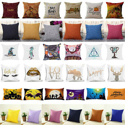 LOT Style Cotton &  Polyester Cushion Cover Sofa Throw Pillow Case Decorative US