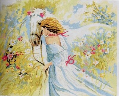 """Romantic """"LEADING HIM HOME"""" HORSE TAPESTRY TO STITCH 60 X 80 CM"""
