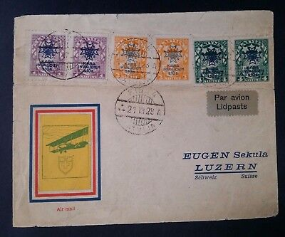 RARE 1928 Latvia Airmail Cover ties 6 stamps w War Invalid O/P canc Riga