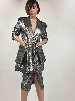 Vintage 1980's Metallic Silver and Black Snake Print Suede Power Suit - Sz 4/6