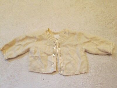 Treasures 100% cashmere sweater Cardigan infant baby size 0-3 month light yellow