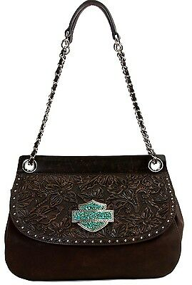 Harley-Davidson SWEET ZONE Shoulder Bag genuine leather with Turquoise