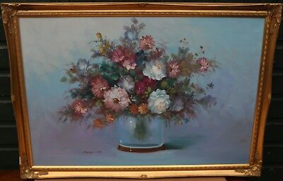 Very Large Gilt Framed Painting On Canvas Of Flowers By Robert Cox