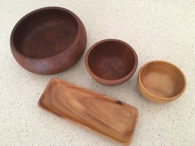 Retro Mid Century Danish Wooden Teak/Beech Bowl and Tray Collection