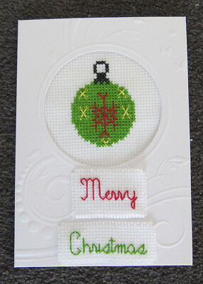 CROSS-stitch CARD MERRY christmas DECORATION handmade CRAFT hobby GREEN bauble