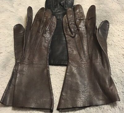Woman's Brown  Vintage Soft Leather Gloves