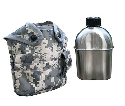 Jolmo Lander G.I Style Stainless Steel Canteen 1.2L Military Canteen with Cover