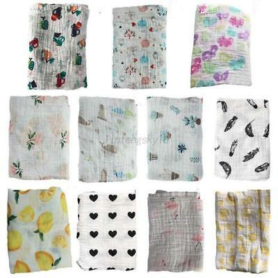 120cm Newborn Infant Baby Muslin Swaddle Soft Sleeping Blanket Wrap Bath Towel
