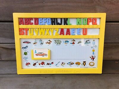 Vintage 60's child guidance toy magnetic alphabet board