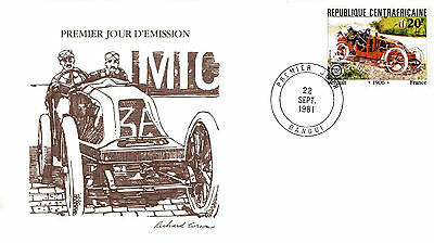 X-TRA LARGE FDC AUTOMOBILE RACING 1910s RENAULT CENTRAL-AFRICA REPUBLIC
