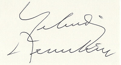 Yehudi Menuhin - Legendary Violinist and Conductor - Hand Signed White Card.