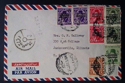 SCARCE 1954 Egypt Airmail Cover ties 8 King Farouk Obliterated stamps canc Cairo