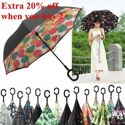 Self Inverted Handle Folding Stand  C-shape Umbrella Upside Down  Double Layer