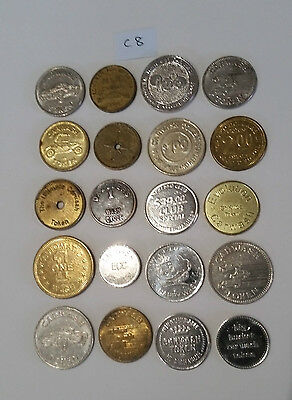 C8 Collectable metal car wash tokens bulk  lot of 20 different pieces